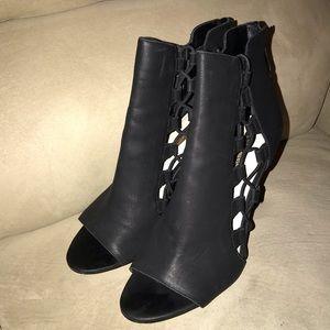 BCBG black ankle bootie heels